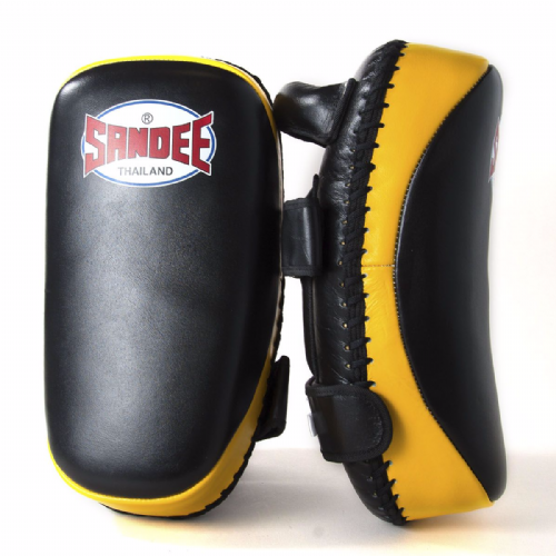 Sandee Curved Thai Kick Pads - Black/Yellow